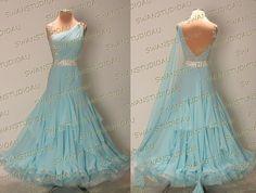 A BRAND NEW READY TO WEAR AQUA BLUE GEORGETTE BALLROOM DANCE DRESS SIZE:S US 4-6 | Clothing, Shoes & Accessories, Dancewear, Adult Dancewear | eBay!