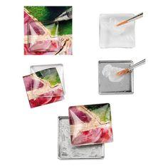 Kinderleicht lassen sich mit glasklaren Cabochons tolle Schmuckteile herstellen. Motiv aussuchen aufkleben - fertig! Schmuckanhänger in 2 Minuten!