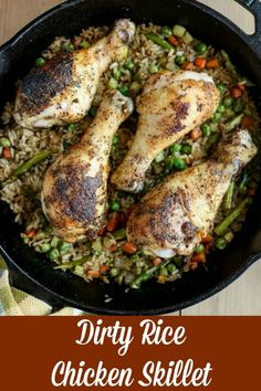 Dirty Rice Chicken Skillet is a mouthwatering complete meal that will be a hit with your family. Use a cast-iron skillet that goes from stovetop to oven to table, and this dish is perfect for meal prep lunches for the week #bakedchicken #onepotmeal #skilletmeal #weeknightdinner #chickenandrice #glutenfree