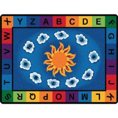 "Sunny Day Learn & Play Preschool Rug - Rectangle - 5'10""W x 8'4""L by Carpets for Kids. $249.75. The Sunny Day Learn & Play Preschool Rug assists with letter and number recognition, while providing a comfortable place to sit. This eco-friendly classroom rug is constructed of nylon fiber, which allows it to be easily recycled by the manufacturer. The antimicrobial treatment and Carpet Guard stain protection will keep common germs and spills at bay. And the KIDply..."