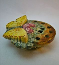 Weller Muskota, flower frog with butterfly, 1920's.