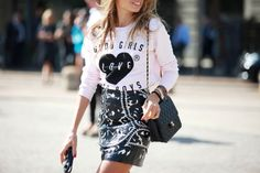 70 Bellissima Milan Street-Style Shots #refinery29  http://www.refinery29.com/54070#slide45  This miniskirt and jersey-shirt combo is so easy to replicate IRL.