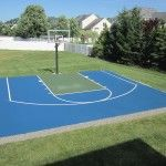 Remove all the fencing and keep a half court in the new yard. Reseal,  paint, new hoop