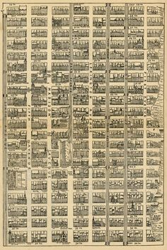 Map of Midtown Manhattan, from 34th Street to 59th Street and from 1st Avenue to 6th Avenue. Sun Manhattan, 1890.S