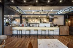 Table Finish | Top Paddock Cafe by Six Degrees Architects and Nathan Toleman | Yellowtrace.