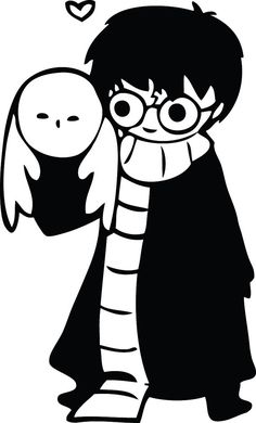 Cute Hand Drawn Harry Potter with Hedwig owl decal sticker! $5.00 free shipping! Hogwarts