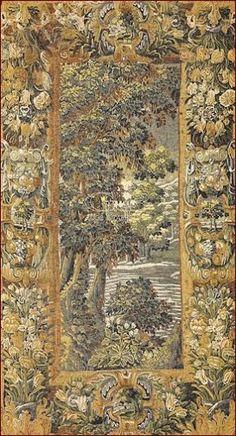 Arazzo Verdures de Beaune, Ateliers delle Fiandre. Riproduzione policroma su tessuto De Rambouillet. Originale