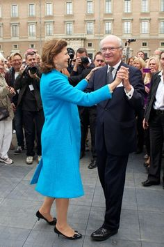 Queen Silvia of Sweden and King Carl XVI Gustaf of Sweden attend the City Of Stockholm Celebrations during King Carl Gustaf's 40th Jubilee o...