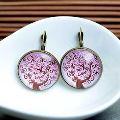 Glas Ohrringe lieben baum, pink old gold 25 von Schmuck auf DaWanda.com