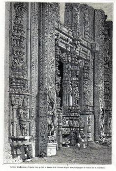 Antique print India porch temple Tripetty Madras / 1869