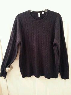 C89 Men's Size Medium Cashmere Sweater Cable Knit -Blue Navy Crewneck REDUCED #C89Men #Crewneck