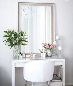White walls and furniture with fresh green flowers and champagne mirror desk inspiration, romantic homes Rangement Makeup, Dressing Room Decor, Beautiful Interior Design, Beauty Room, Diy Bedroom Decor, Home Decor, New Room, Room Inspiration, Sweet Home