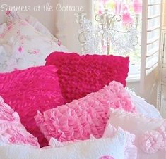Romantic shades of pink pillows in a variety of sizes and shapes from soft pink flowers to peachy pink and rosey pink with ruffled rich raspberry for your shabby chic cottage bed or white wicker chair or settee! Chic Bedding, Pink Bedding, Pink Pillows, Vintage Pillows, Bed Pillows, White Wicker Chair, Navy Blue Living Room, Cottage Furniture, Cottage Homes