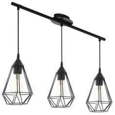 This is a three light ceiling pendant from the Tarbes range by Eglo. The 94189 is a vintage black ceiling pendant. Pendant Light Fixtures, Ceiling Pendant, Pendant Lighting, Ceiling Lights, Interior Lighting, Modern Lighting, Lampe Decoration, Kitchen Lamps, Kitchen