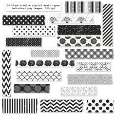 Black and white washi tape clip art set  digital by digitalfield, $3.00