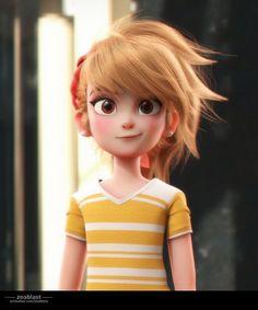 cartoon girl (w.p), sebastian aburto Ñanco - Character inspiration 3d Model Character, Character Design Girl, Character Design Animation, Character Modeling, Character Design Inspiration, Character Concept, Character Art, Concept Art, 3d Animation