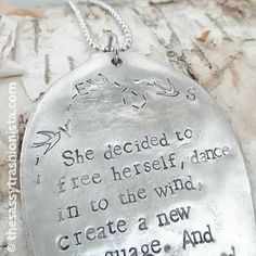 Upcycled Handstamped Inspirational Spoon Necklace, Spoon Jewelry, Empower, Inspire, Hand made Quote Jewelry