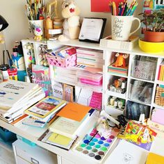 Olya Schmidt @paintpaperstudio reality of what m...Instagram photo | Websta (Webstagram) Desk Accesories, Craft Desk, Planning And Organizing, Study Office, Study Inspiration, Office Organization, Craft Storage, School Supplies, Stationery