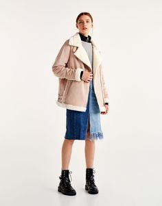 Pull&Bear - woman - clothing - most wanted - faux suede biker jacket with faux fur interior - pink - 09715330-I2017