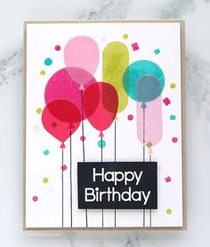 I love a colorful birthday card. Don't you? :) For today's card, I wanted to create a card using the new Let's Celebrate stamp set from Paper Smooches and combine it with vellum diecut balloons using