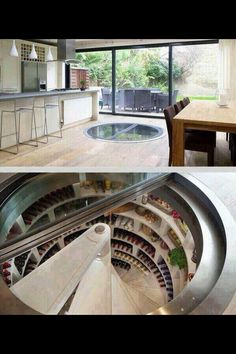 Spiral staircase style sunken pantry