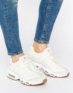 Buy it now. Nike Air Max 95 Trainers In Off White With Gum Sole - Cream. Air Max 95 trainers by Nike, A breathable suede and mesh upper, Visible Max Air unit for cushioning, Moulded top eyelets, Full-length EVA midsole for lightweight cushioning, Signature Swoosh logo, Rubber waffle outsole, Lace-up fastening, Wipe with a damp sponge, 100% Real Leather Upper. ABOUT NIKE Nike dominates the sportswear industry with a fresh, stylish approach to casual apparel. Super cool trainers and hi-tops…