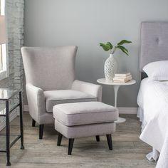 Belham Living Wool Herringbone Occasional Chair and Ottoman