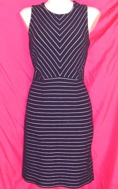 L 12~Old Navy~Striped Print Knit Sheath Dress~Scoop~Retro~Rockabilly~Work~Navy #OldNavy #Sheath #careerpartyCasual