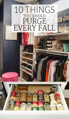 FALL CLEAN UP: Week #1 is all about quick wins. Go through the 10 items on this list and purge as much as you can every fall to keep your house less cluttered all year long. Perfect list of things to clear out before the busy holiday season arrives!
