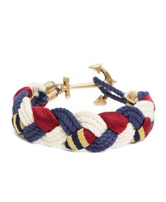 Kiel James Patrick BB#1 Braided BraceletNavy-Natural-Burgundy