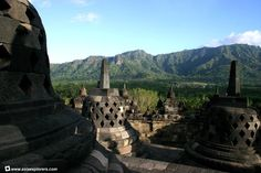 View from the upper terraces of Borobudur.