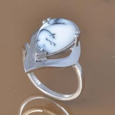 DENDRITEC AGATE 925 SOLID STERLING SILVER EXCLUSIVE RING 4.40g DJR7493 #Handmade #Ring