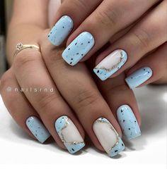 Spring Nails, Summer Nails, Instagram Mode, Light Blue Nails, Elegant Nail Art, Latest Nail Art, Sweater Nails, Cool Nail Designs, Nail Trends
