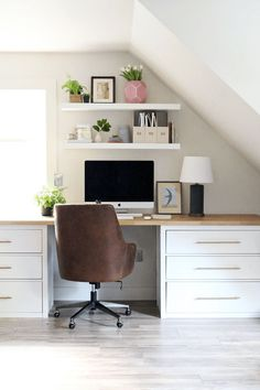 Modern IKEA Office Design Ideas - You can find office furniture that is very modern and also quite affordable which makes it perfect for most looking for furniture solutions. Ikea is j. Mesa Home Office, Home Office Space, Home Office Desks, Office Spaces, Work Spaces, Desk Space, Kid Spaces, Ikea Office Hack, Hack Ikea