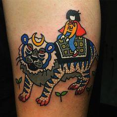 by, @kimsany  #traveler #tiger #moon #hybridink #tattoo #art #illustration #studio #seoul #korea