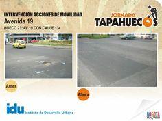 Intervención Acciones de Movilidad en la Av 19 con calle 134. #TapaHuecos