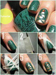 DIY Christmas Tree Nail Art Instruction-DIY Christmas Nail Art Ideas #NailArt