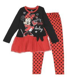 Another great find on #zulily! Black Minnie Mouse 'Darling' Dress & Leggings - Infant & Toddler #zulilyfinds