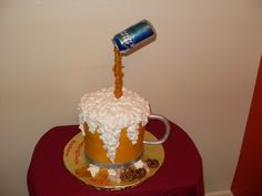 white cake (two tiers of 8 in rounds)iced in buttercream,whip -n-ice for the foam,poured sugar on a dowel with a beer can on top.gumpaste handle,and fondant pretzels & peanuts.2nd pic has a gumpaste figure that was added.this is the 2nd beer mug cake i've done for a friend.tfl