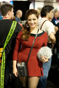 Star Trek cosplay, awesome. Comes with a tribble!