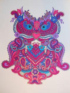 Uil uit 'Mijn wonderlijke wereld', gekleurd met Stabilo pen 88 en 68, en metallic gelpennen van de Action Adult Coloring, Coloring Books, Coloring Pages, Stabilo Pen, Neon Colors, Art Ideas, Owl, Artsy, Tropical