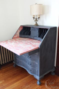 A lovely Governor Winthrop desk finished in Country Grey, Graphite, Scandinavian Pink and Old White Chalk Paint® decorative paint by Annie Sloan | By Finding Silver Pennies