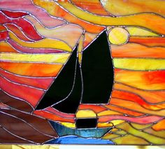 Sunset Schooner Stained Glass Panel by Glassquirks on Etsy, $325.00