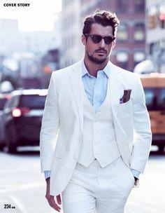 David Gandy Editorial for GQ Taiwan March 2014 ~ David James Gandy David Gandy, Beach Wedding Suits, Wedding Men, Formal Wedding, Wedding White, Summer Wedding, Wedding Tuxedos, Wedding Groom, Wedding Dress