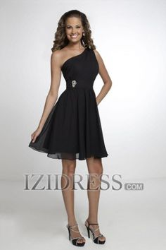 Sheath/Column One Shoulder Chiffon Bridesmaids Dress - IZIDRESS.COM in blue