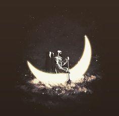 astro, moon, vintage, dark, sky