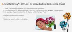 Am 11.5. ist Muttertag. Speziell für diesen besonderen Tag hat AustroBild ein besonderes Dankeschön-Paket geschnürt: 2 ausgewählte Muttertags-Artikel auswählen und gestalten und mit dem Gutschein-Code AB*MUTTER 20 Prozent sparen. #muttertag #geschenke #fotoartikel