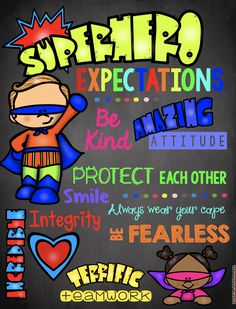 Superhero Expectations - Classroom Rules - Playroom Rules - Poster - Teacher - Back to School - Decor - Kids Wall Art - - Superhero School Theme, Superhero Bulletin Boards, Superhero Preschool, Superhero Classroom Decorations, School Decorations, School Themes, Preschool Classroom, Classroom Themes, In Kindergarten