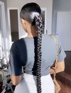 Hair Ponytail Styles, Ponytail Girl, Weave Ponytail Hairstyles, Baddie Hairstyles, Sleek Ponytail, Black Girls Hairstyles, Ponytail With Braid, Two Braids With Weave, Black Girl Ponytails