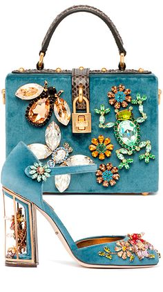 Blue velvet rhinestone purse and shoes // Dolce Gabbana Clothing, Shoes & Jewelry : Women : handbags and purses for women http://amzn.to/2j9CmhZ